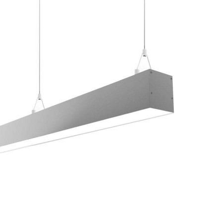 Lámpara colgante SERK, 70W, 208cm, DALI regulable, silver, Blanco cálido, Regulable