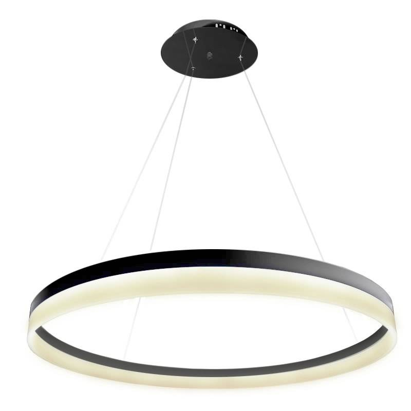 Lámpara colgante RING 73W, negro, Triac regulable, Ø100cm