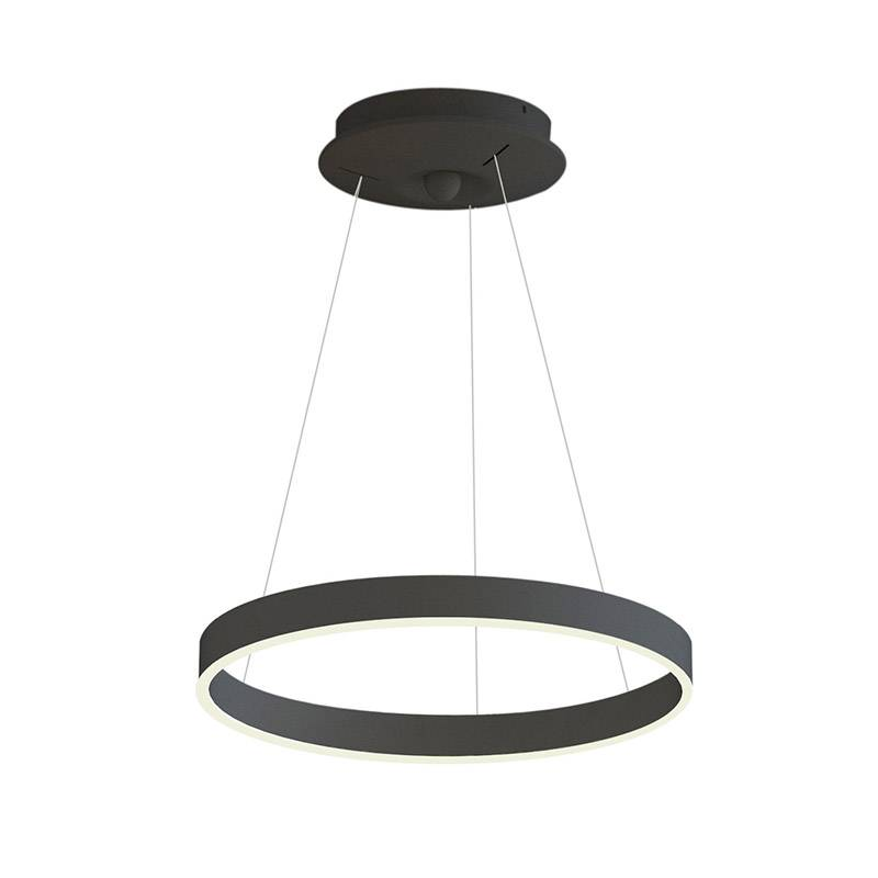 Lámpara colgante RINGEND 28W, negro, Triac regulable, Ø40cm