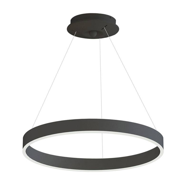 Lámpara colgante RINGEND 38W, negro, Triac regulable, Ø60cm