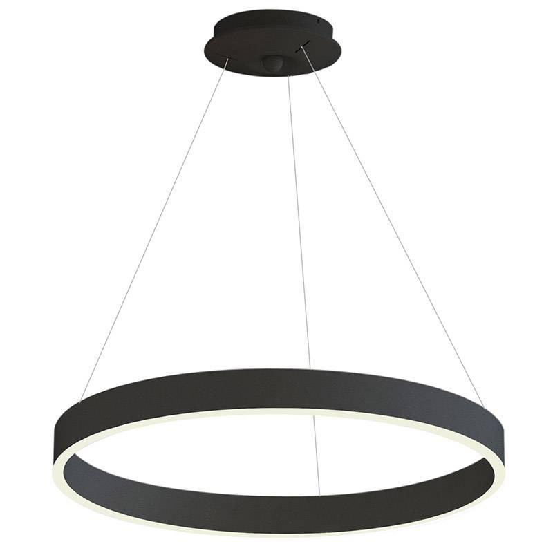 Lámpara colgante RINGEND 46W, negro, Triac regulable, Ø80cm