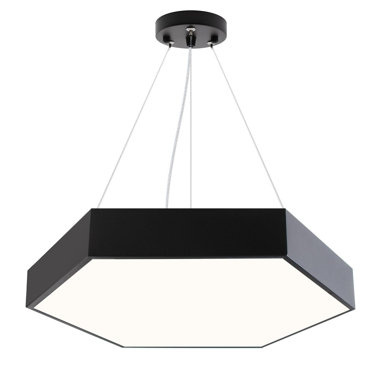 Luminaria colgante o superficie XAGON FULL, Ø600mm, 50W, negro