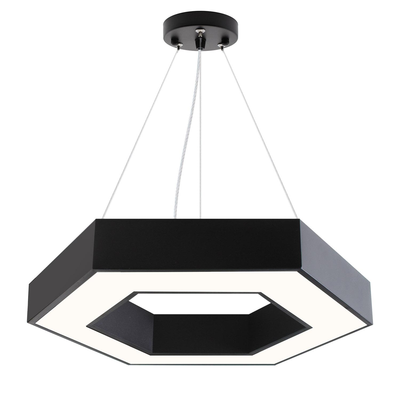 Luminaria colgante o superficie XAGON, Ø600mm, 50W, negro