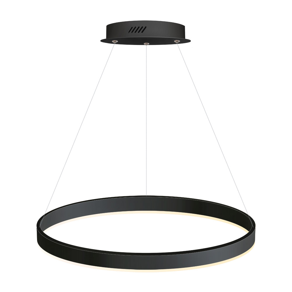 Luminaria colgante RING 37W, Ø600mm, negro