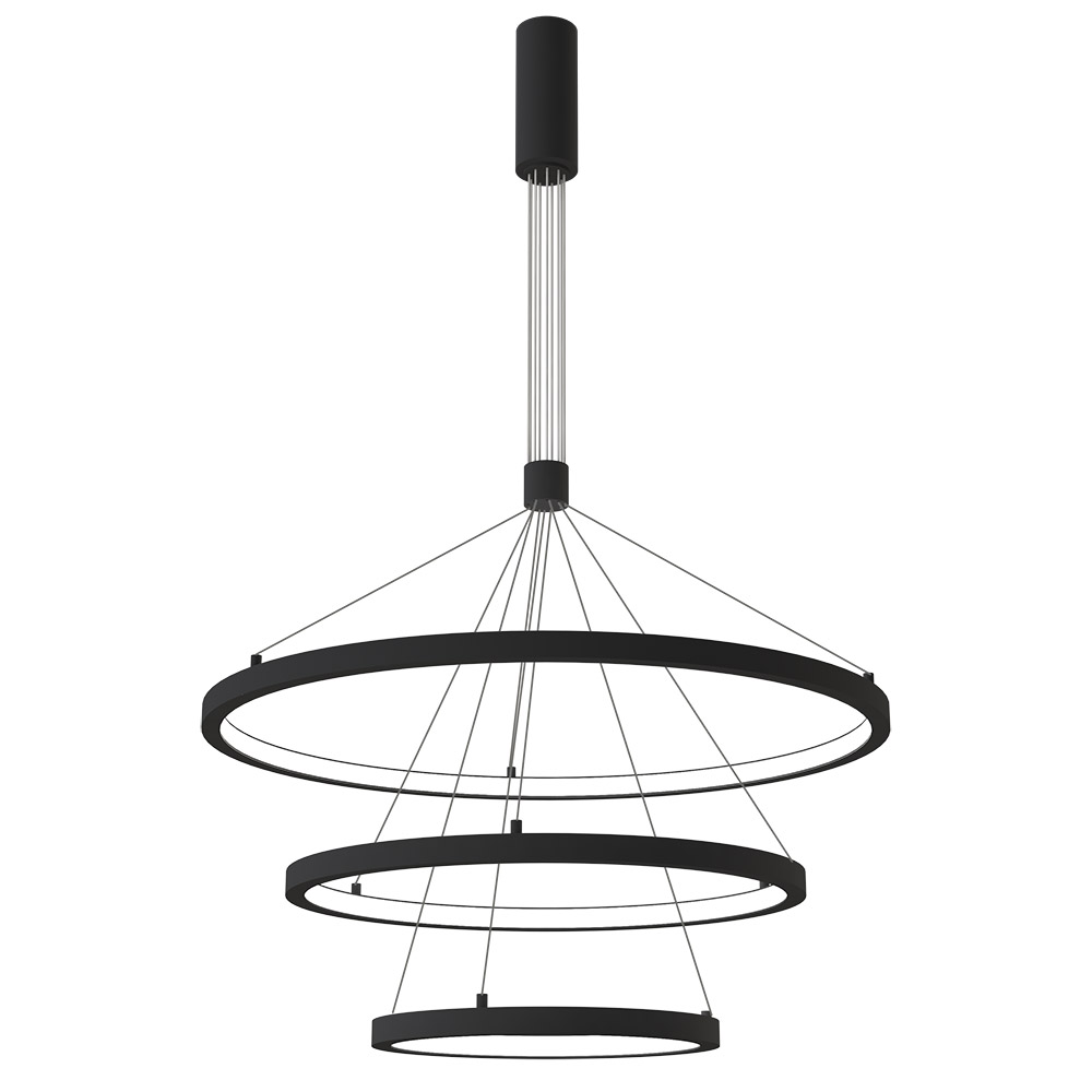Luminaria colgante TRICYCLE IN, 108W, antracita, Ø807+Ø600+Ø395mm, TRIAC regulable
