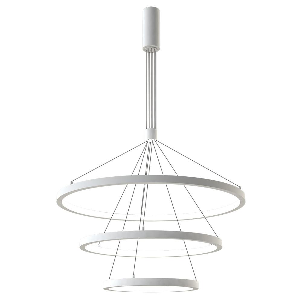 Luminaria colgante TRICYCLE IN, 108W, blanco, Ø807+Ø600+Ø395mm, TRIAC regulable