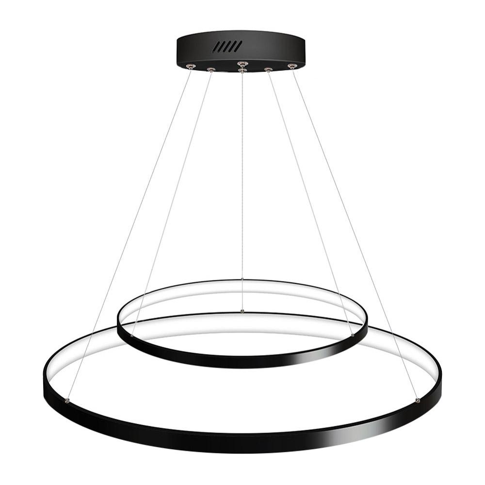 Luminaria colgante ELIX, 60W, negro, CCT Ajustable, Ø57+38cm