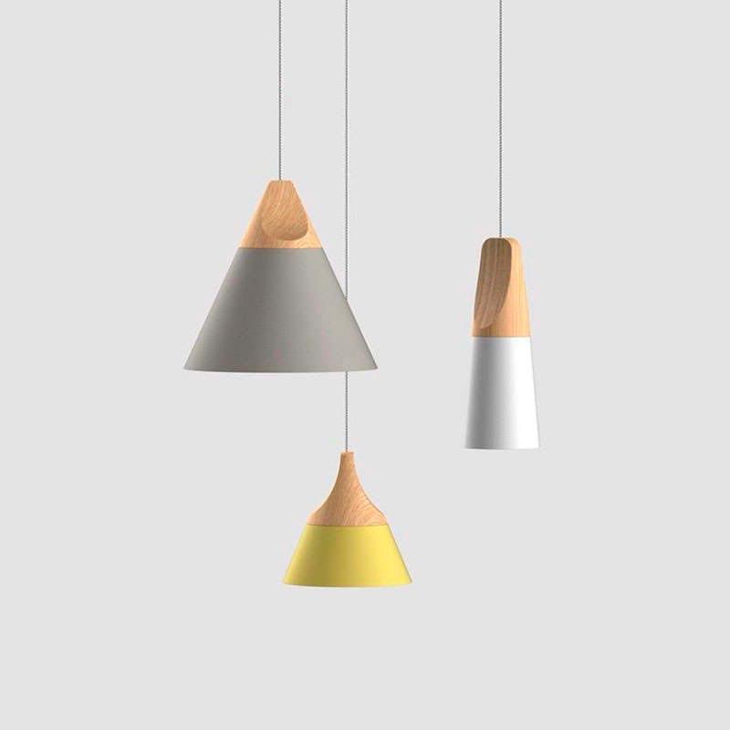 Lámpara colgante KONO Gris, E27, LEDTHINK