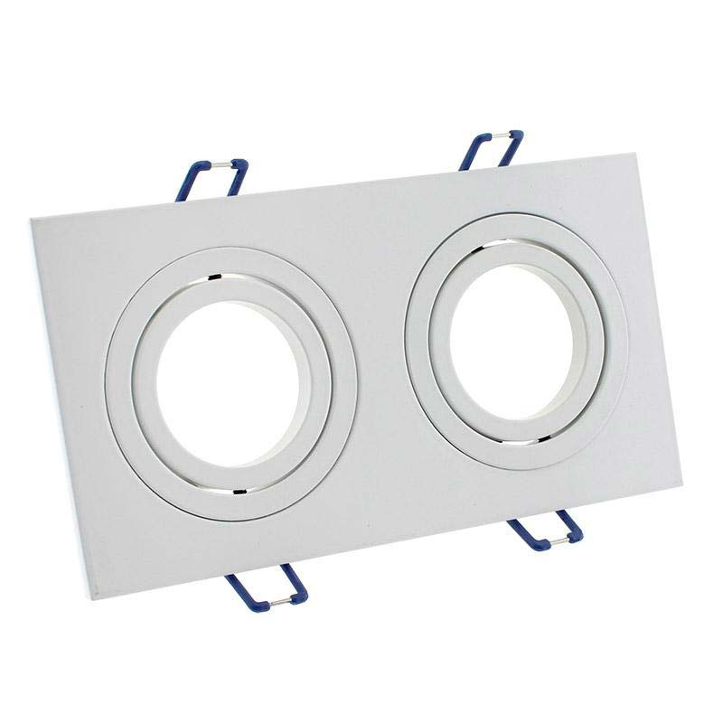 Spot 2 aros rectangular x2 focos blanco basculante