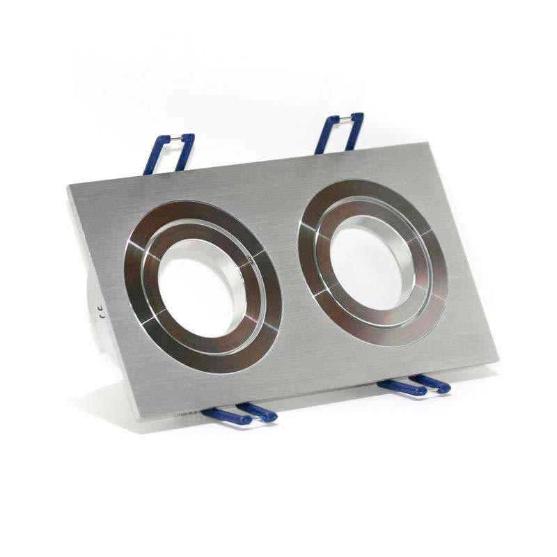 Spot 2 anéis rectângular x2 focos níquel basculante