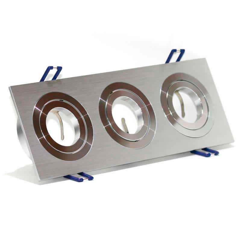 Spot 2 aros rectangular x3 focos níquel basculante