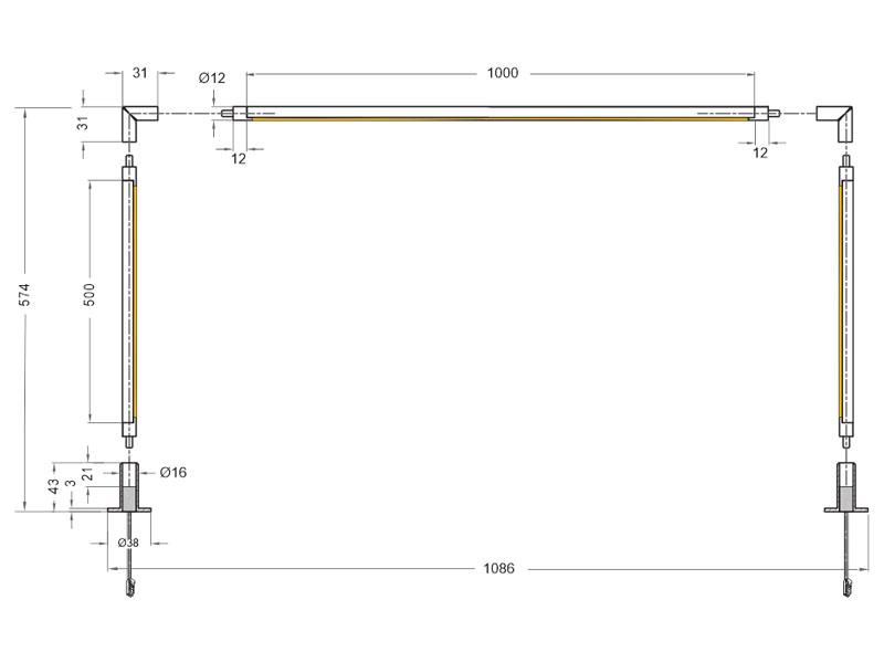 Iluminacion led para vitrinas vitra lux u de 100 cm y 36w for Piscina rigida rectangular