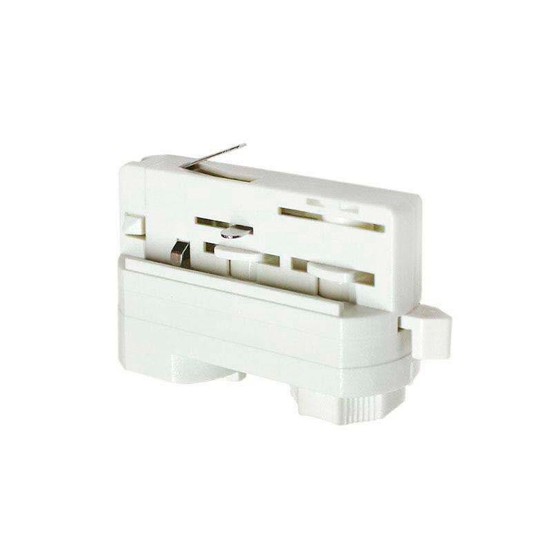 Conector foco a carril trifásico, blanco