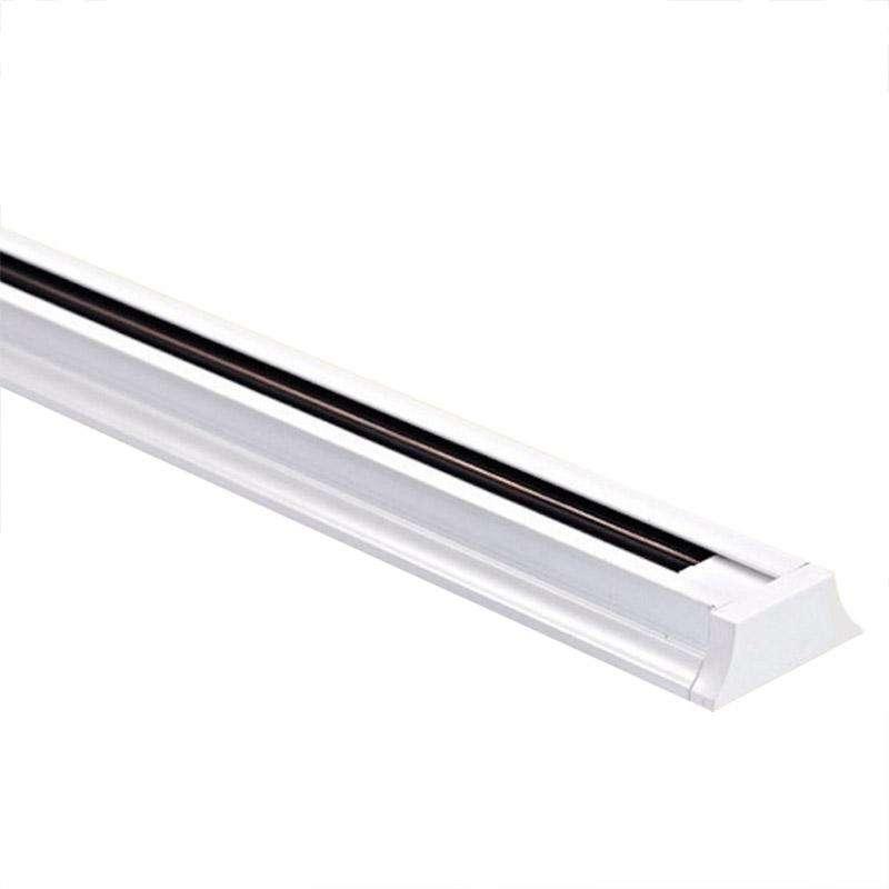 Carril monofásico con conector, 1,5 metros, blanco, trapecio