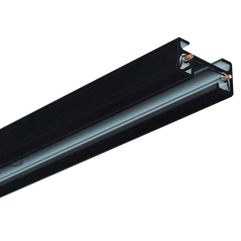 Carril monofásico con conector, 1 metro, negro, cuadrado