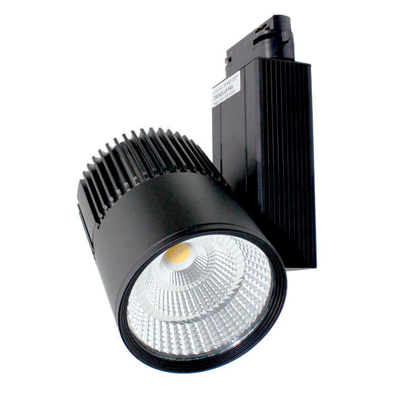 Foco carril cronolux cree led tuv driver negro 30w rf for Focos led a pilas