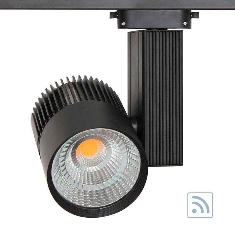 Foco carril Monofásico CRONOLUX CREE led + TUV driver, negro 30W, RF, Regulable