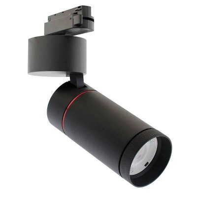 Foco LED DOMO para carril Monofásico, 30W, negro, Blanco neutro