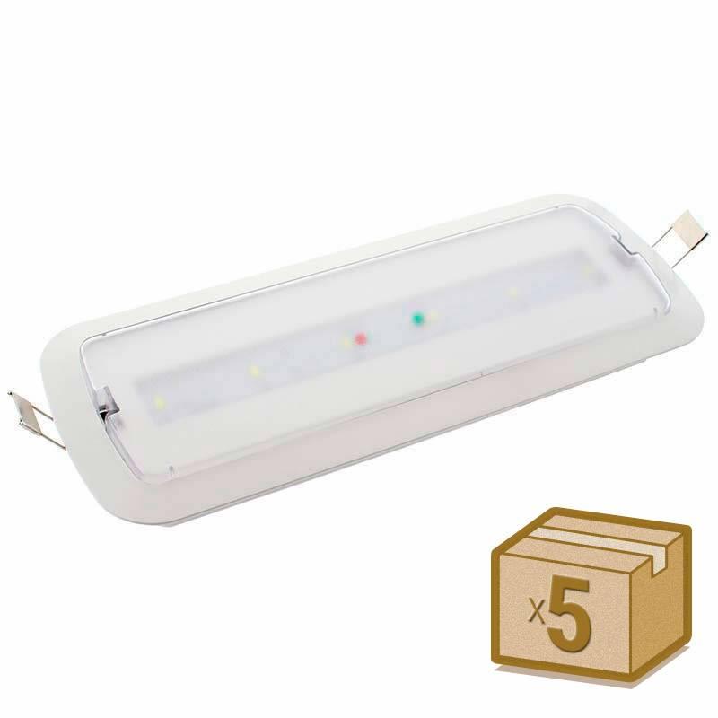 Pack 5 x Luz de emergência LED NICELUX AUTO-TEST, Permanente / Não permanente