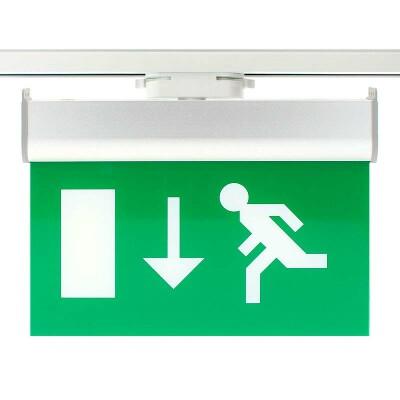 Luz Emergencia permanente para Carril Monofásico Emergency RAIL EXIT, Verde