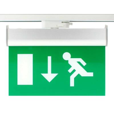 Luz Emergencia permanente para Carril Bifásico Emergency RAIL EXIT, Verde