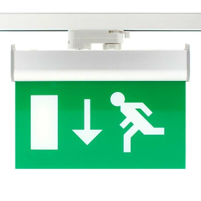 Luz Emergencia permanente para Carril Trifásico Emergency RAIL EXIT, Verde