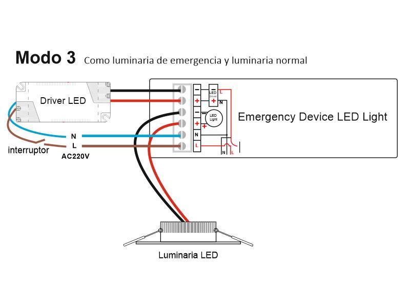 Modo emergencia + luminaria normal