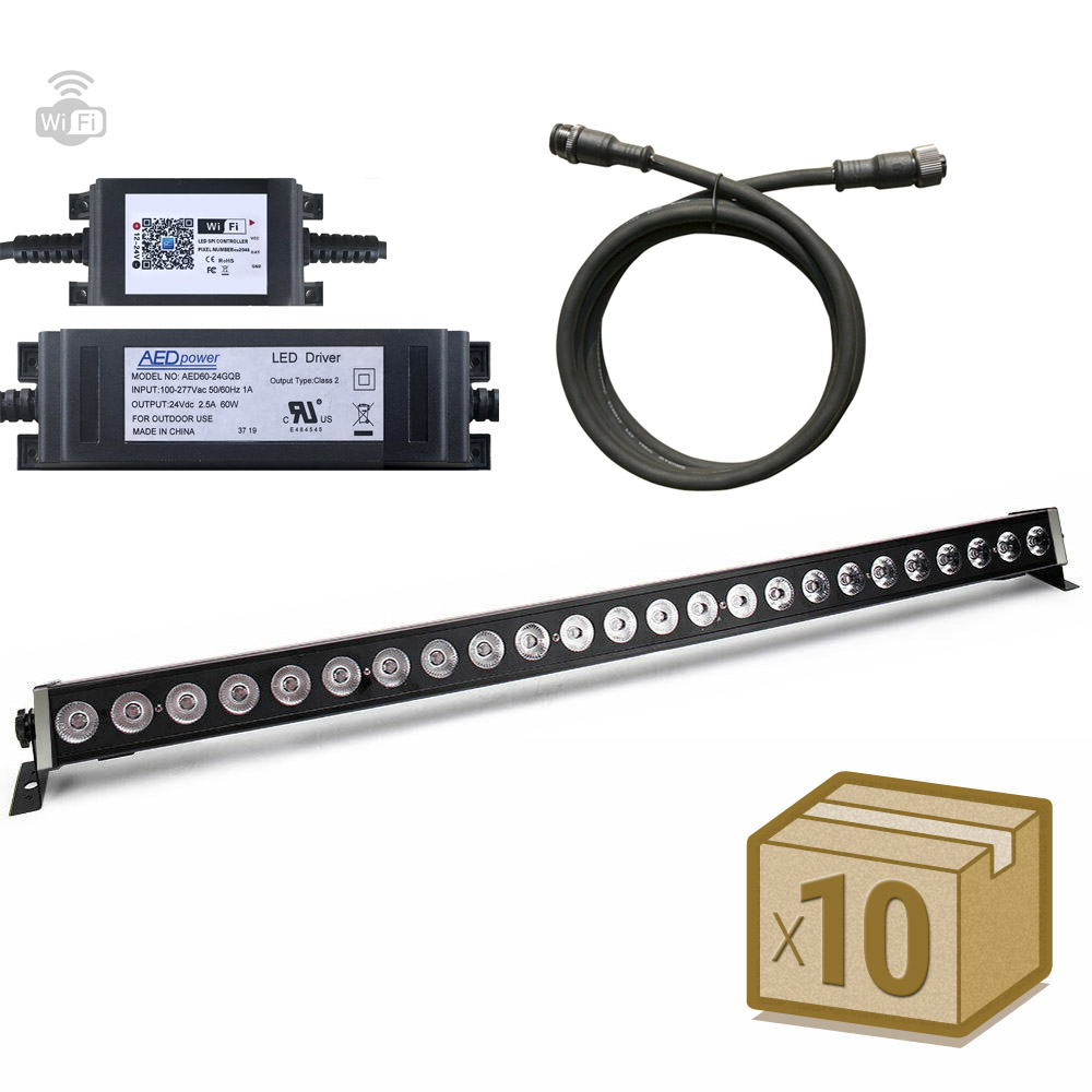 Pack 10xProyector LED lineal, Voz, WiFi, RGB, 6W, DC24V, 50cm