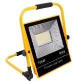 Proyector LED, 100W solar/con batería recargable, blanco + flash emergencia rojo y azul