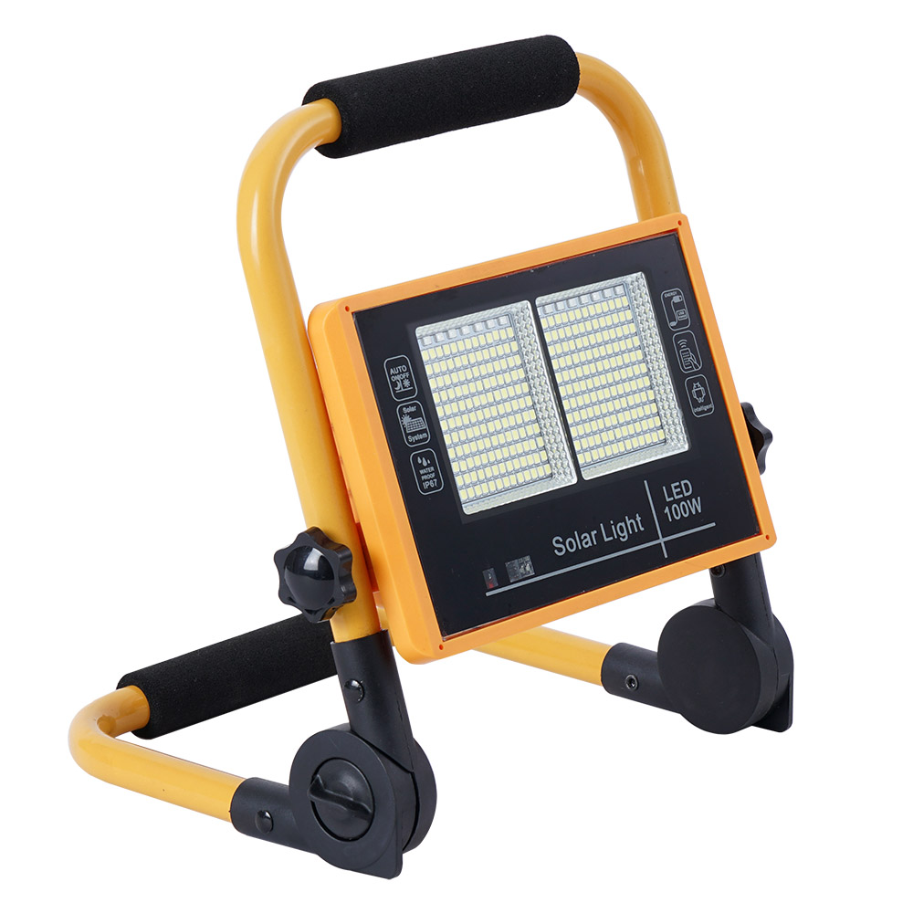 Proyector LED, 100W solar/con batería recargable + emergencia + power bank
