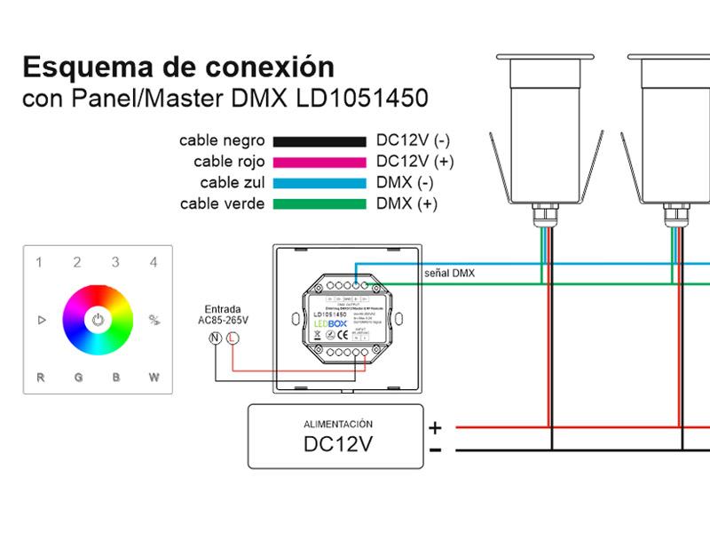Instalación con panel/master DMX