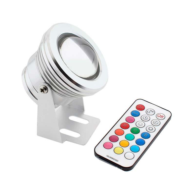 Foco jardín RGBW+W, 10W + mando a distancia IR