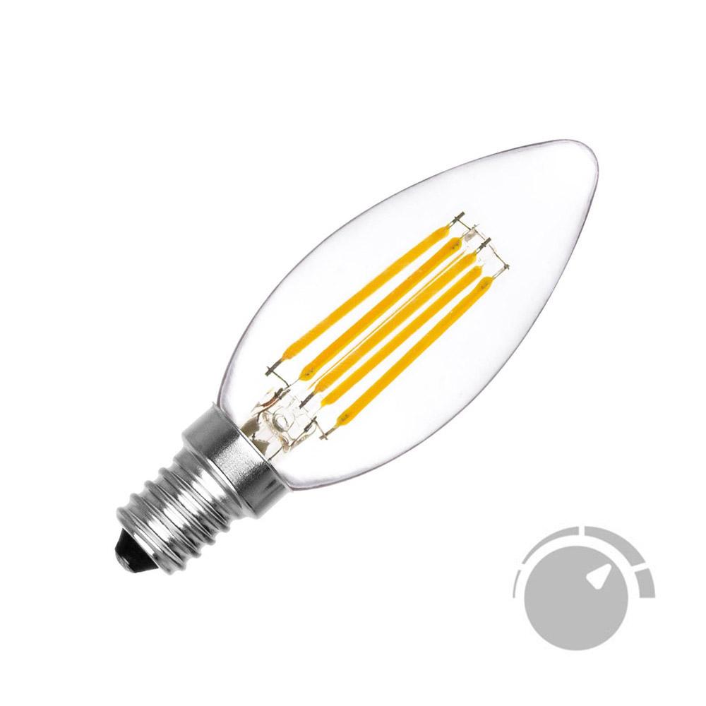 Bombilla Filamento LED Vela E14 COB 6W, Regulable