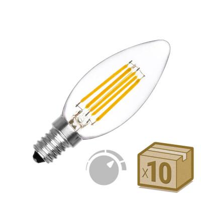Pack 10 x Bombilla Filamento LED Vela E14 COB 6W, Regulable, Blanco cálido 2700K, Regulable