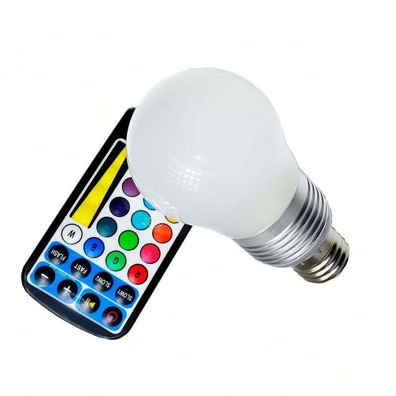 Bombilla LED E27, 5W, RGB + mando a distancia