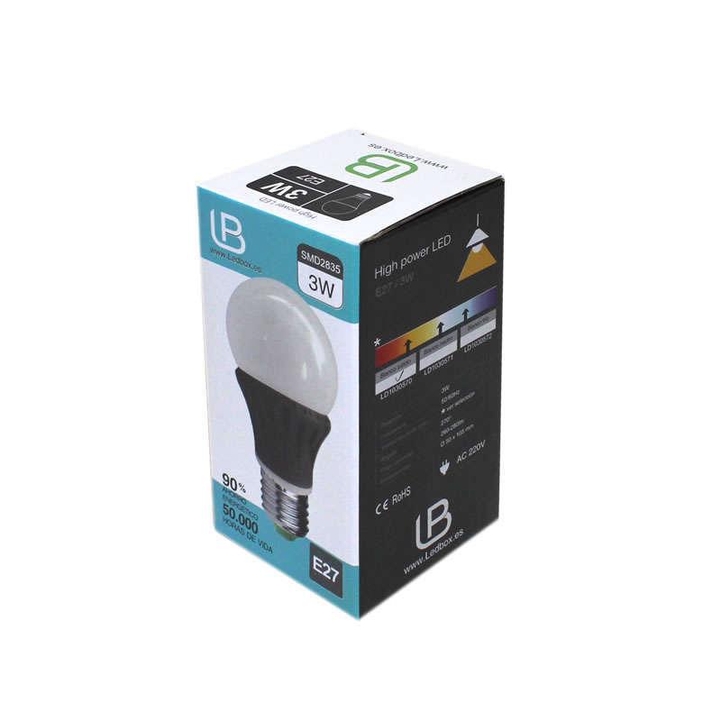 Bombilla LED E27 270º Aluminio, 3W