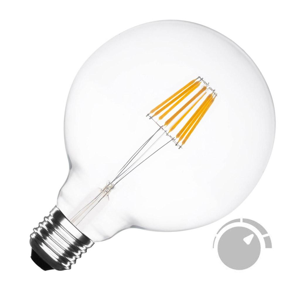 Bombilla Led E27 COB filamento 6W, Ø95x138mm, Regulable