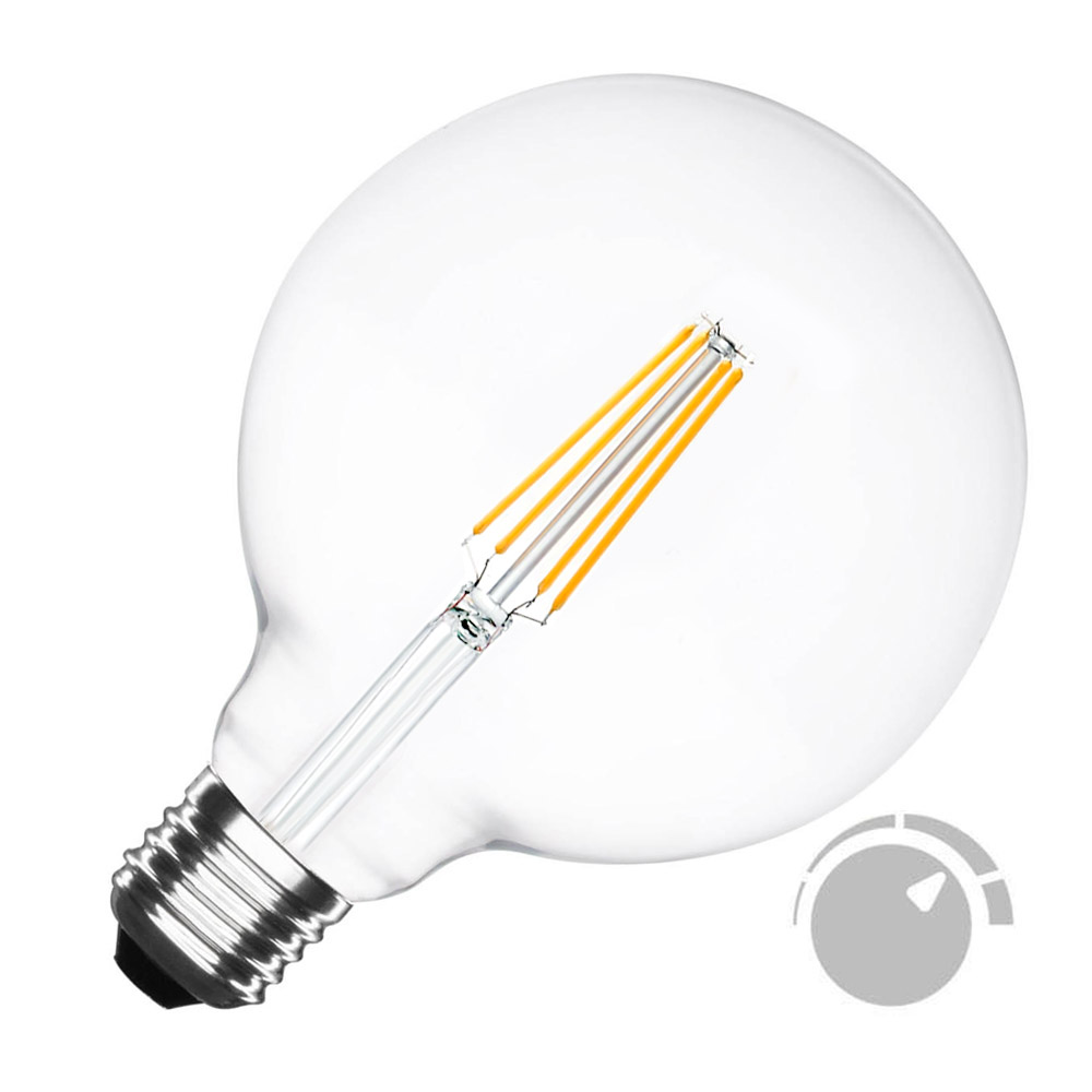 Bombilla Led E27 COB filamento 8W, Ø125x176mm, Regulable