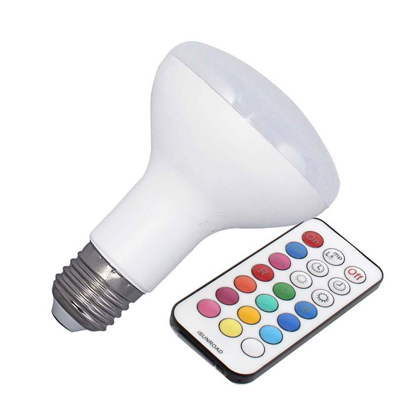 Bombilla LED E27, R80, 10W, RGB + mando a distancia