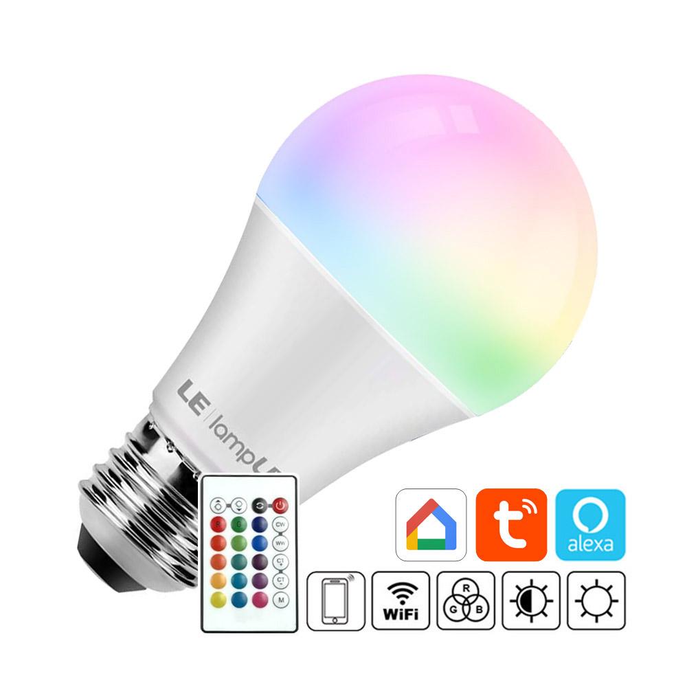Bombilla LED E27, 10W, RGB+W + mando a distancia