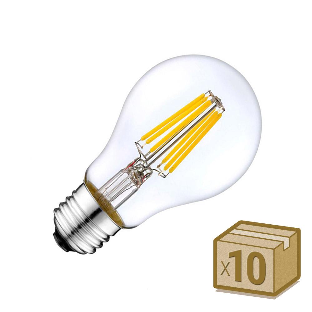 Pack 10 x Bombillas LED E27 COB filamento 8W