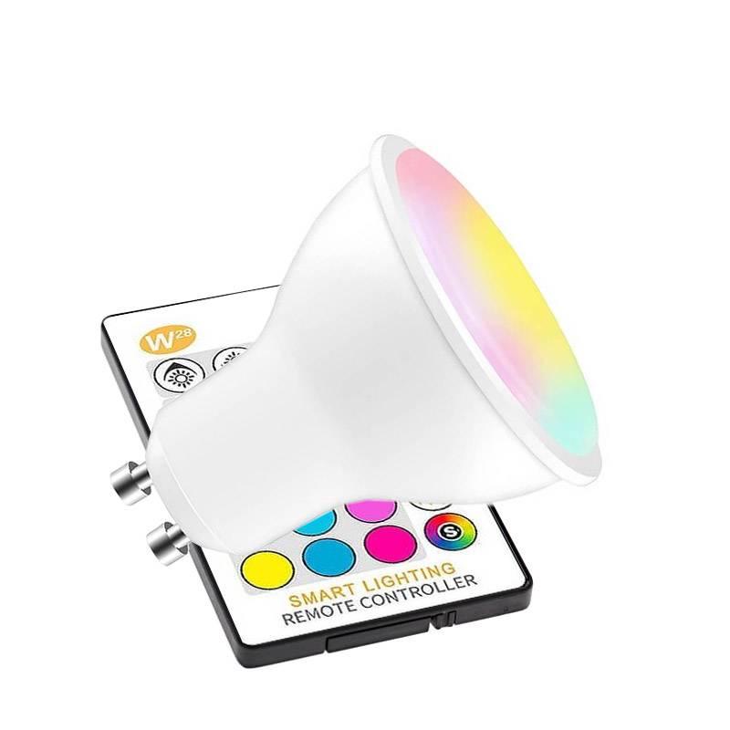 Bombilla LED GU10 RGBW 5W + mando a distancia