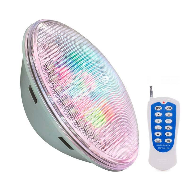 Lámpara LED PAR56 RGB para piscinas, G53, 45W, Acero inox.Int.
