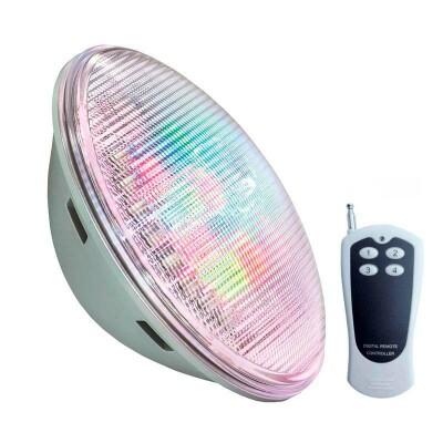 Lámpara LED PAR56 RGB para piscinas, G53, 45W, Acero inox.ext., RGB