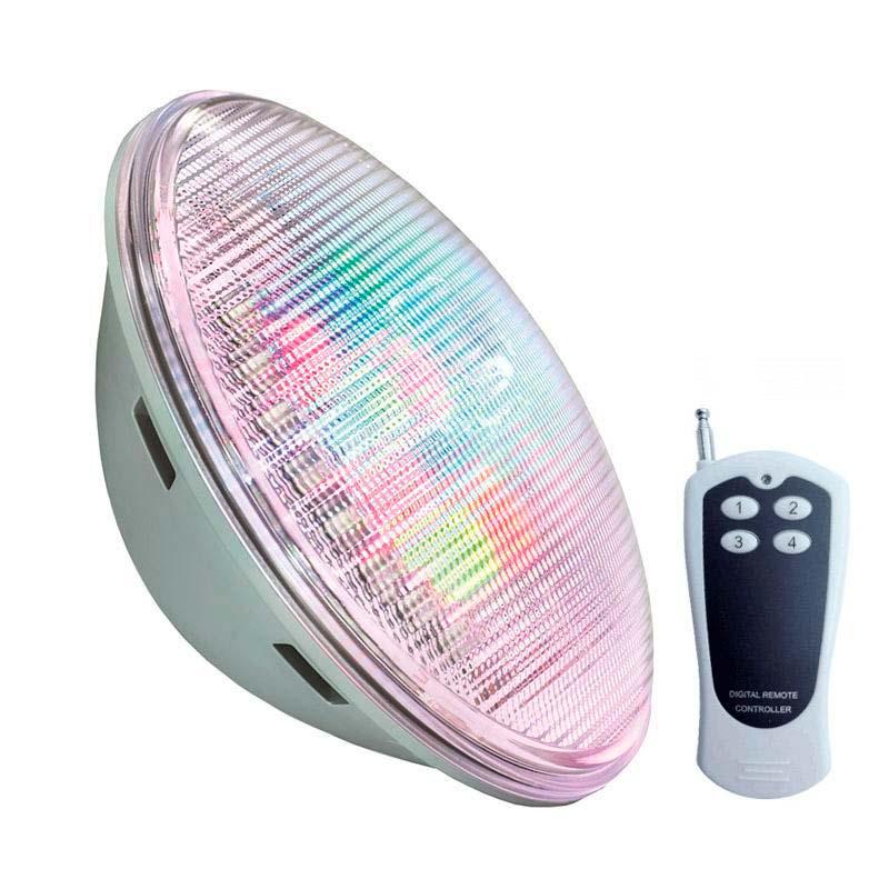 Lámpara LED PAR56 RGB para piscinas, G53, 45W, Acero inox.ext.