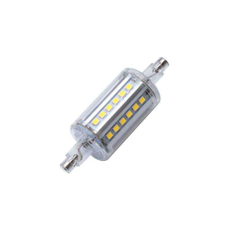 Lâmpada LED R7S, 5W, 36xSMD2835, 360º, 78mm. Encapsulamento de cristal