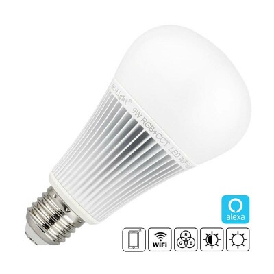 Bombilla LED WiFi E27, 9W, RGB+CCT, WiFi, Alexa, RGB + Blanco dual, Regulable
