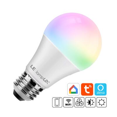 Bombilla LED WiFi E27, 9W, RGB+CCT, APP, Alexa, Google Assistant, RGB + Blanco dual, Regulable