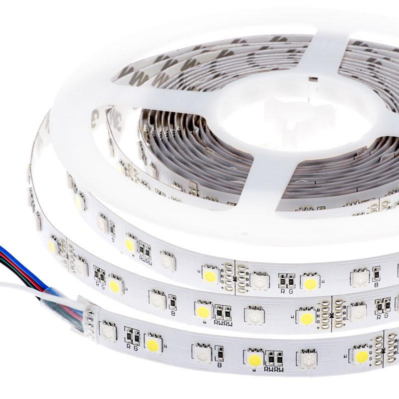 Tira LED SMD5050, RGB+WW, DC12V, 5m (60Led/m) - IP65