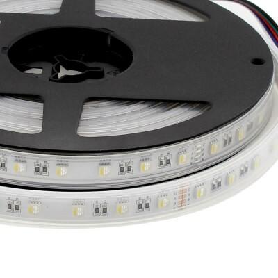 Tira LED EPISTAR SMD5050, RGB+W, DC24V, 5m (60Led/m 4 en 1) - IP67, RGB + Blanco cálido